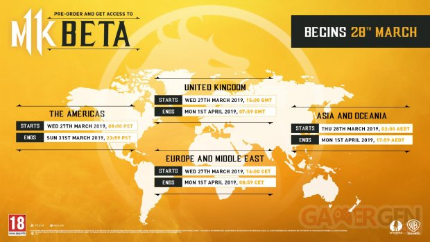Mortal Kombat 11 Horaires Dates Bêta