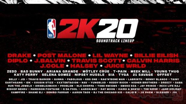 NBA 2K20 Soundtrack line up