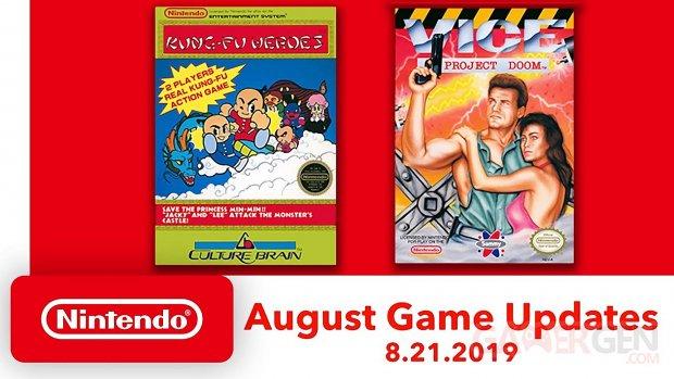 NES Nintendo Switch Online jeux aout