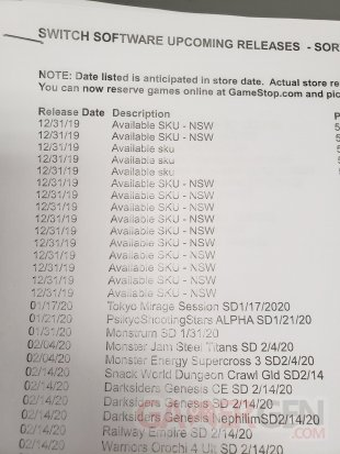 Nintendo Direct liste gamestop jeux switch image