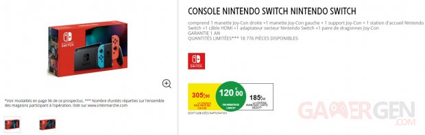 Nintendo Switch 120 euros réduction Intermarché