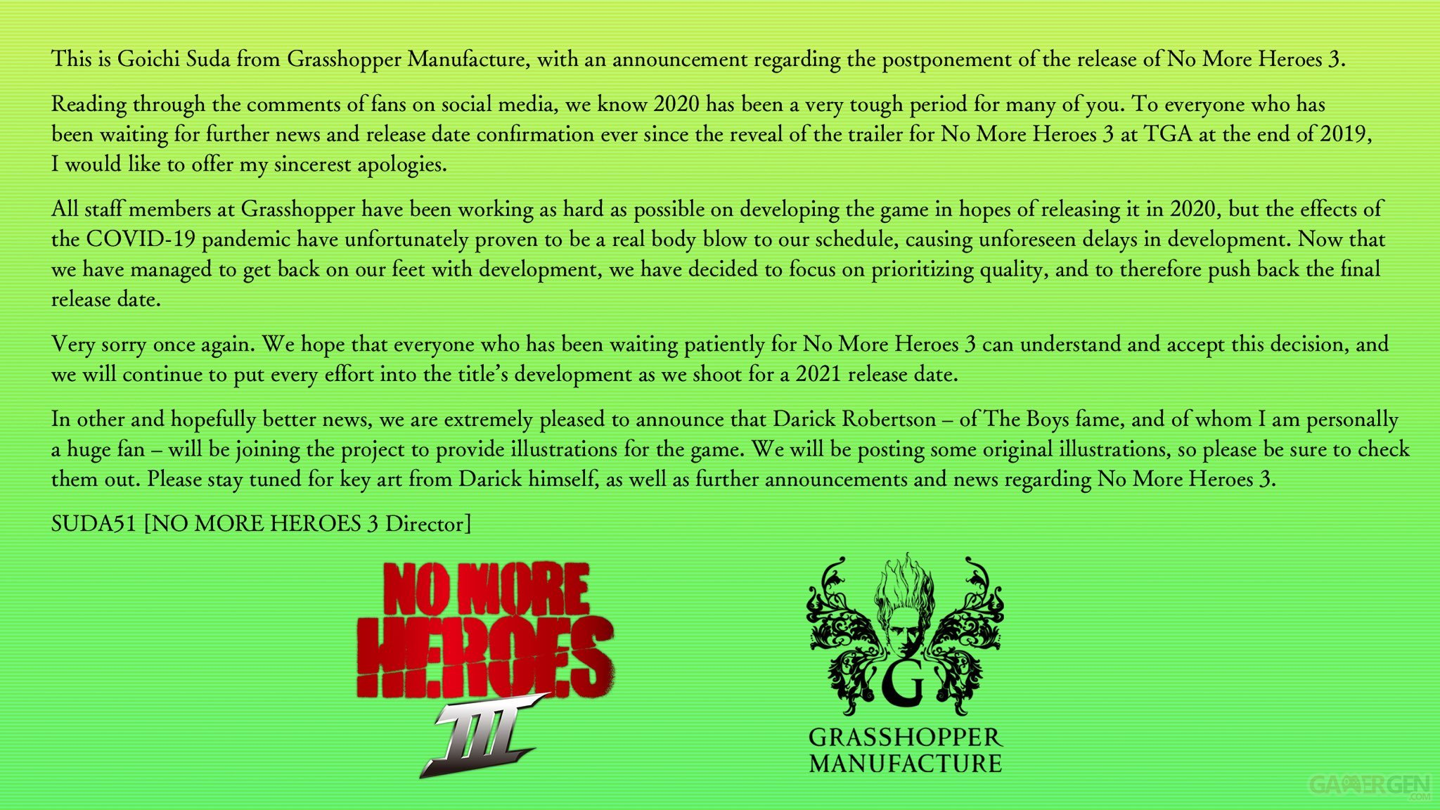 No More Heroes 3 reporté à 2021