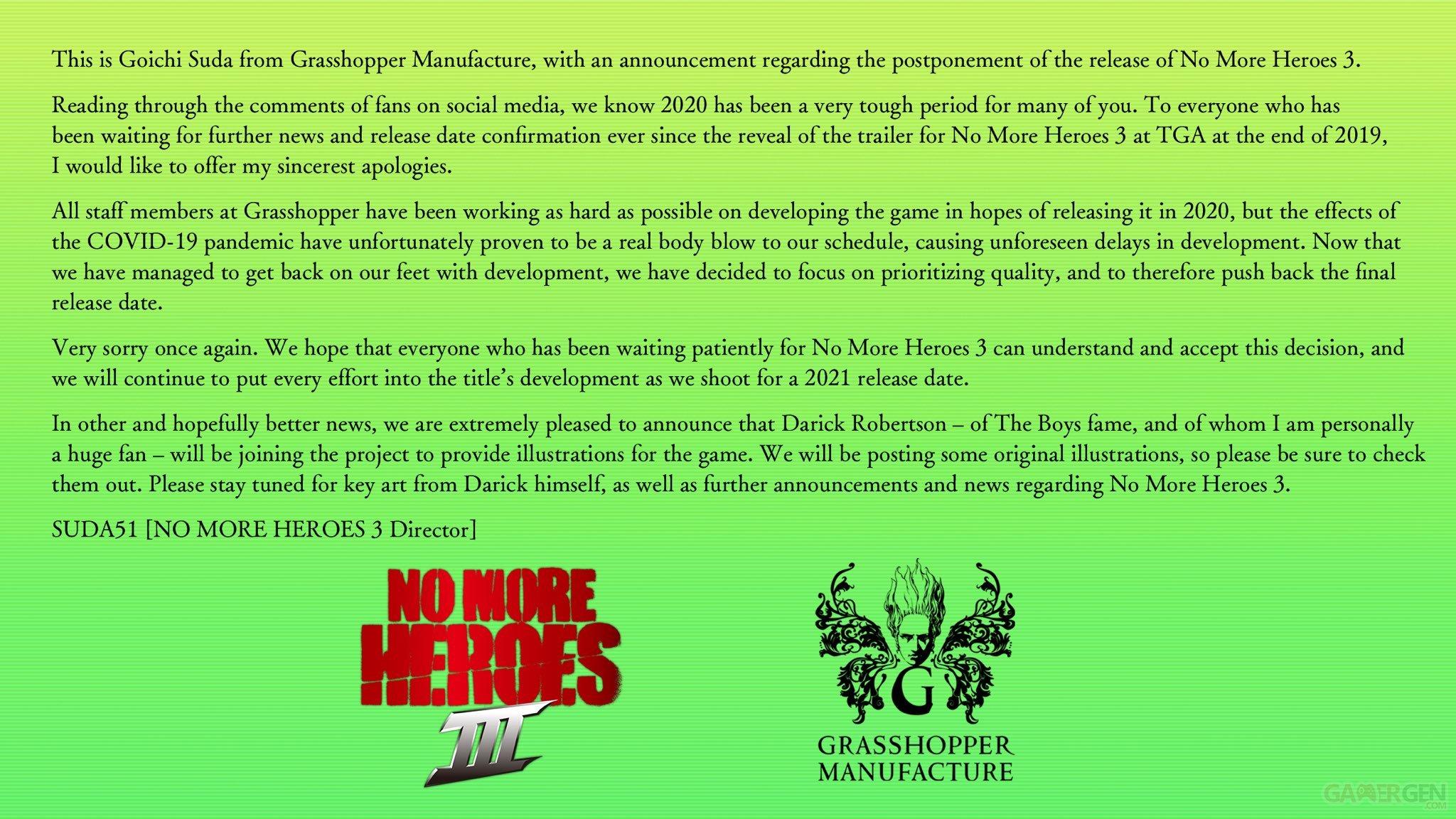 No More Heroes 3 repoussé en 2021