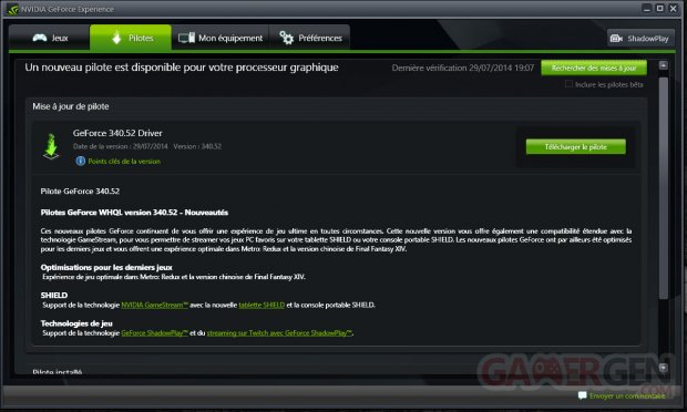 nvidia geforce experience pilote 340