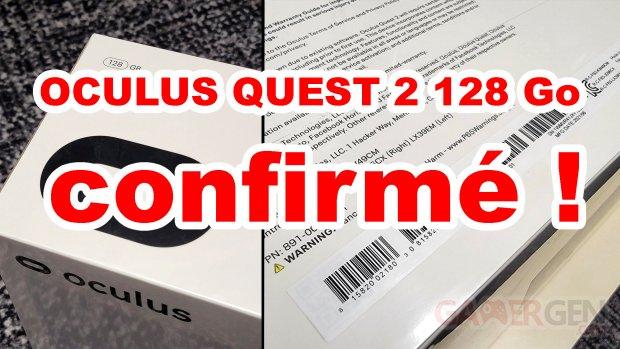 Oculus Quest 2 128 Go Gb confirmé