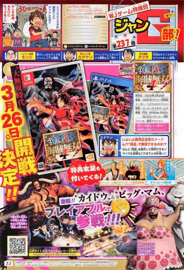 One Piece Pirate Warriors 4 scan Shonen Jump Big Mom Kaido 14 12 2019