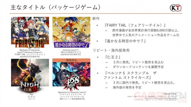 Persona 5 Scramble The Phantom Strikers Koei Tecmo rapport financier 27 04 2020