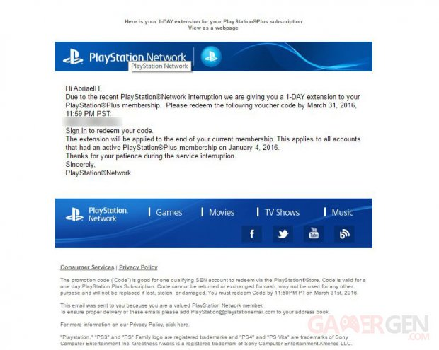 PlayStation Network panne compensation PS Plus