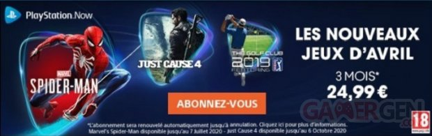 PlayStation Now leak avril 2020