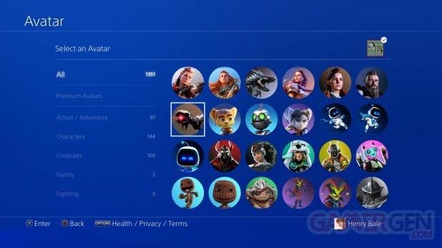 PlayStation PS4 PS5 28 10 2020 avatars profile