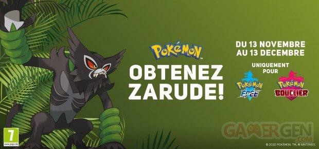 Pokémon Epée Bouclier distribution Zarude 13 11 2020