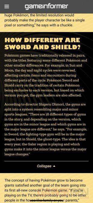 Pokémon Epée Bouclier Game Informer arènes 01 10 2019