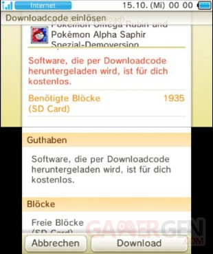 Pokémon Rubis Oméga et Saphir Alpha demo version essai