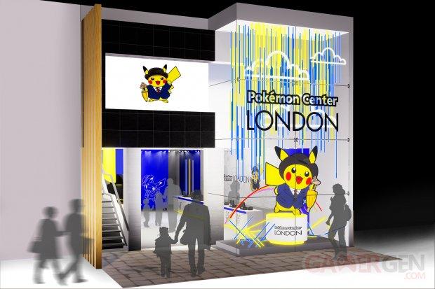 Pop up Pokemon Center London facade mock up