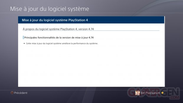 PS4 FW 4.74 MAJ update changelog
