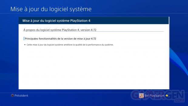 PS4 MAJ update mise a jour changelog firmware 4.72