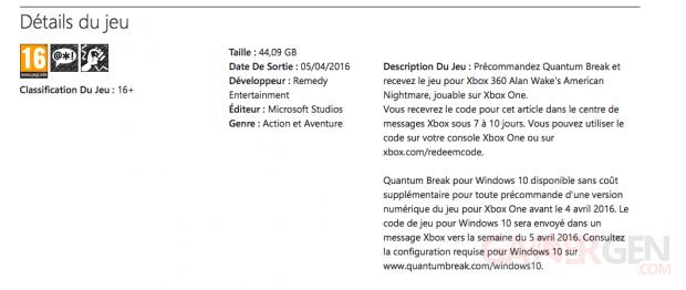 Quantum Break PC Marche? Xbox Live