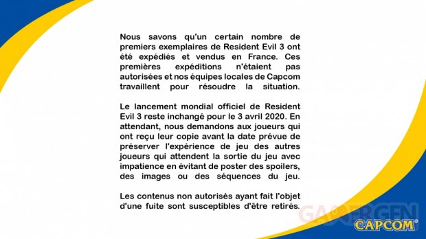 Resident Evil 3 fuite copies