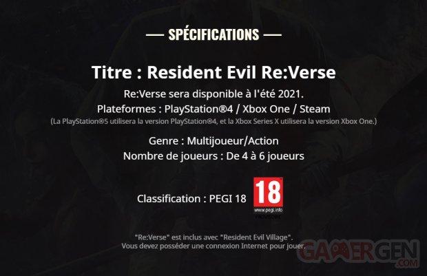 Resident Evil Re Verse 27 04 2021 date sortie report été 2021