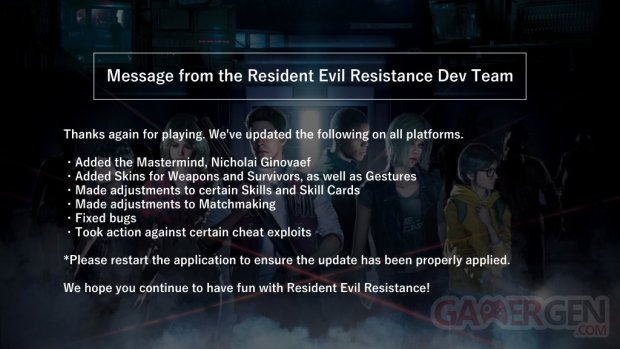Resident Evil Resistance patch 1 05