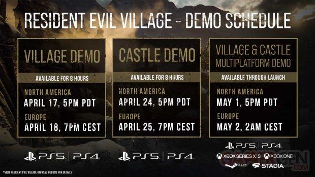 Resident Evil Village 16 04 2021 dates heures démo limitée