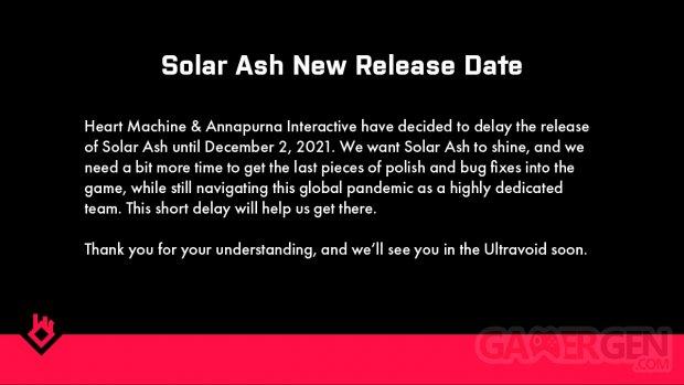 Solar Ash report date sortie