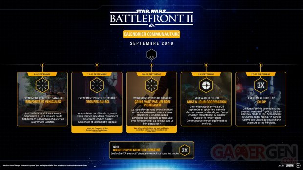 Star Wars Battlefront II calendrier communautaire septembre 2019