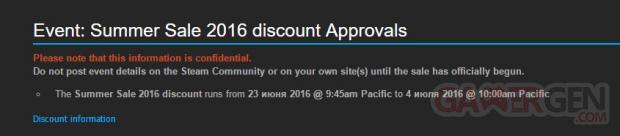 Steam Soldes Eté 2016 Fuite