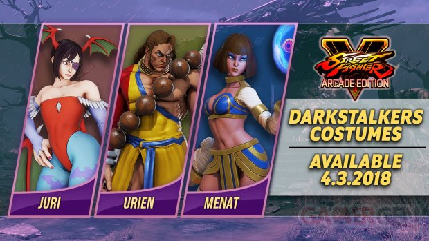 Street Fighter V Arcade Edition Pack costumes Darkstalkers 11 27 03 2018