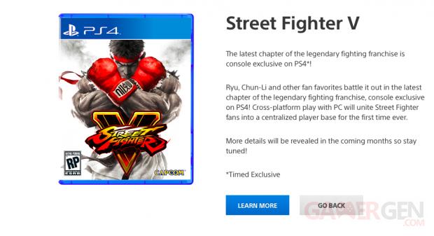 Street Fighter V exclusivite? temporaire