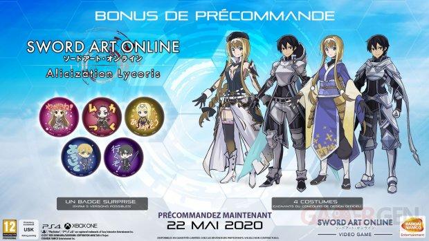 Sword Art Online Alicization Lycoris bonus précommande 09 12 2019