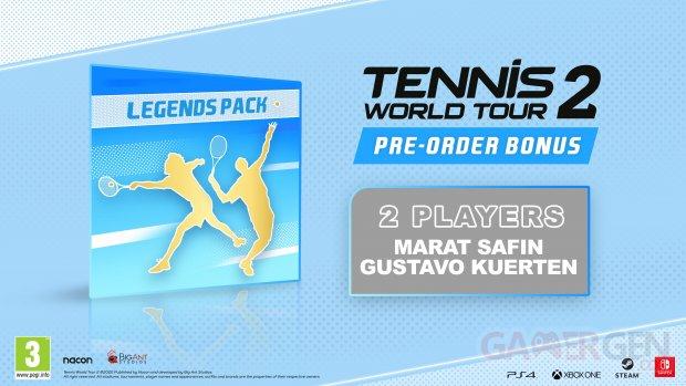 Tennis World Tour 2 Ace Edition bonus Gustavo Kuerton Marat Safin