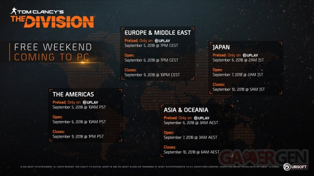 The Division week end gratuit horaires