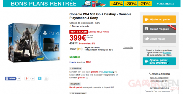 Vente Flash Fnac Destiny