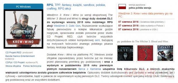 Witcher 3 Wild Hunt DLC Blood Wine Date Sortie