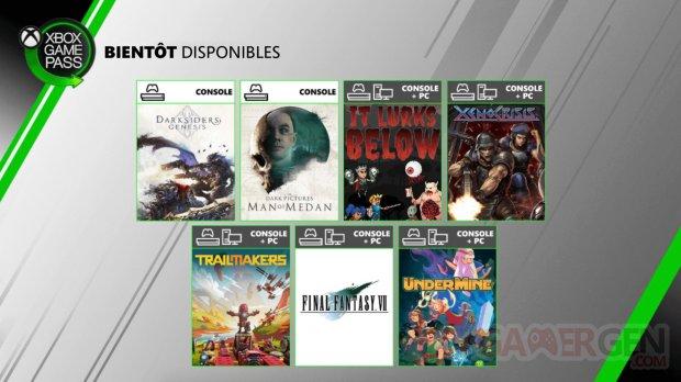 Xbox Game Pass 05 08 2020 nouveautés