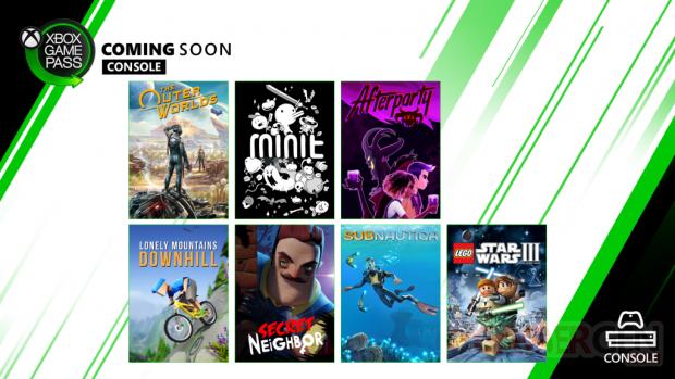 Xbox Game Pass octobre 2019 console