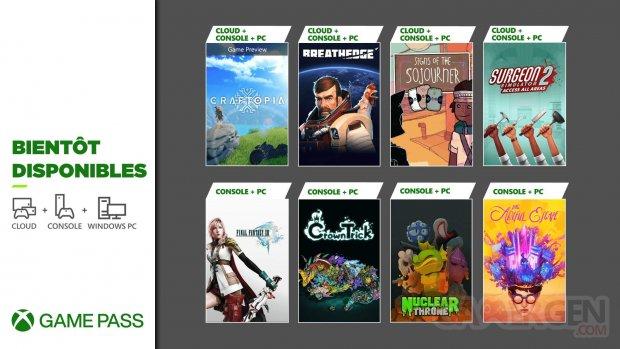 Xbox Game Pass septembre 2021.