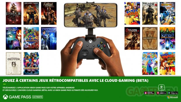 Xbox Game Pass Ultimate cloud jeux rétrocompatibles.