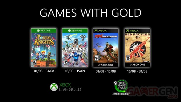 Xbox Live Games with Gold aout 2020