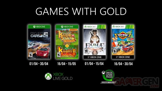 Xbox Live Games with Gold avril 2020