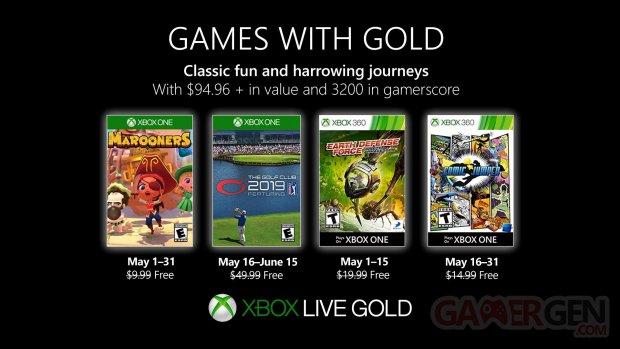 Xbox Live Games with Gold les jeux gratuits de mai 2019 dévoilés