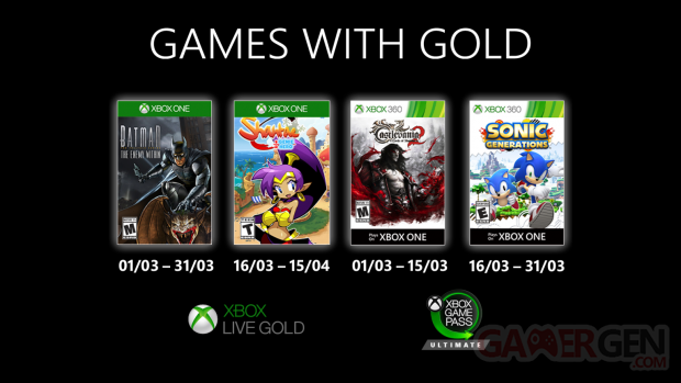 Xbox Live Games with Gold mars 2020