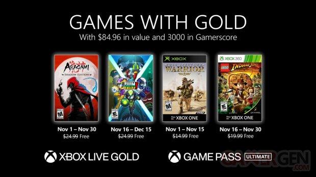 Xbox Live Games with Gold novembre 2020