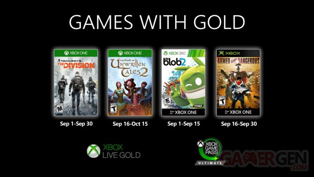 Xbox Live Games with Gold septembre 2020