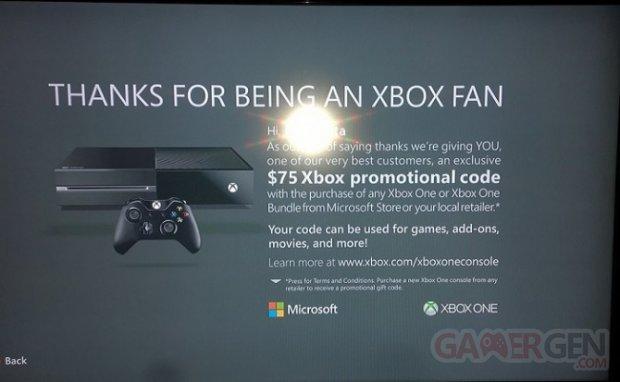 Xbox One promotion 75 $