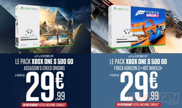 bon plan xbox one s les packs assassin 39 s creed origins et forza horizon 3 petit prix en. Black Bedroom Furniture Sets. Home Design Ideas