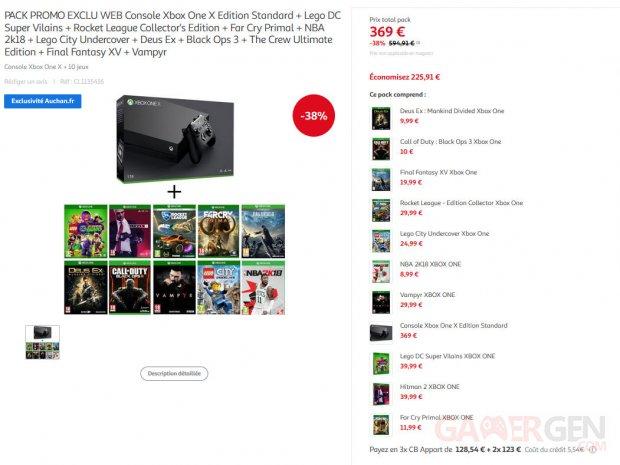 Xbox One X 10 jeux prix promotions rabais reductions images