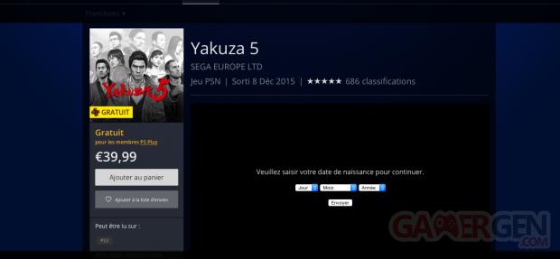 Yakuza 5 PlayStation Plus